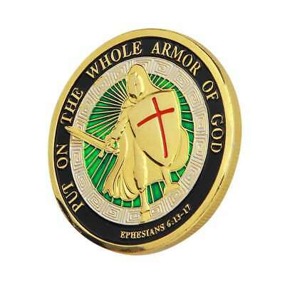 1X Gold Plated Put on the Whole Armor of God Commemorative Challenge Coin C2L7V
