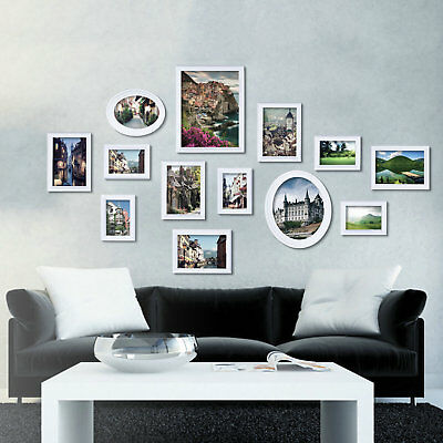US.WHITE MULTI PICTURE Photo Frame 13 Pieces Set Wall Frames Set ...