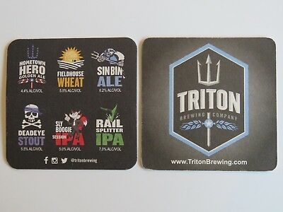 Beer Coaster ~ TRITON Brewing Co IPA, Wheat, Stout, etc. ~ Indianapolis, INDIANA