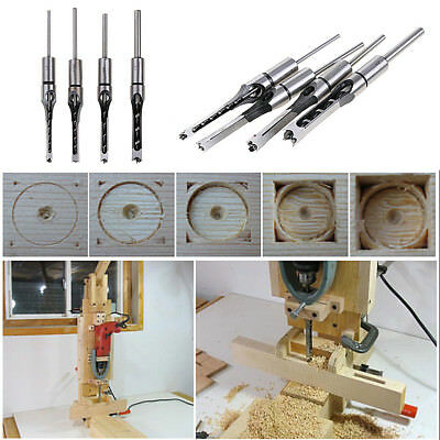 """1/4"""" 5/16"""" 3/8"""" 1/2"""" Hollow Square Hole Saw Drill Bit Mortising Wood Drill Tool"""