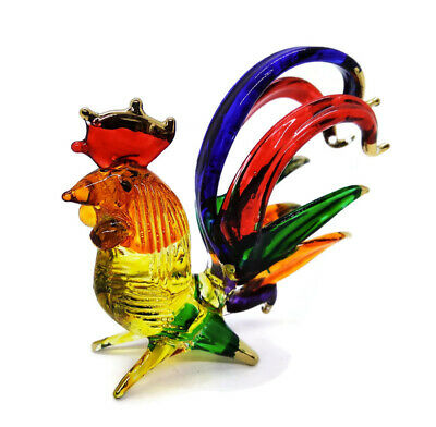 Handmade Chicken Art Glass Blown Bird Animal Figurine rooster decor Collectibles