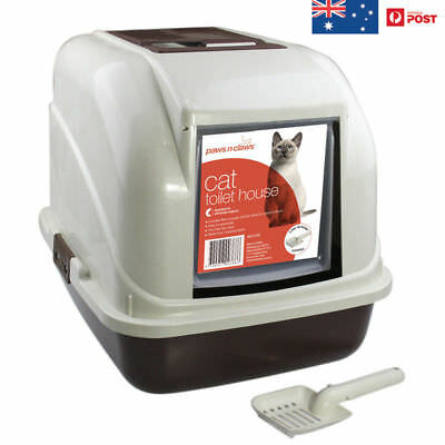 CAT TOILET HOUSE Paws N Claws Hooded WITH DOOR Flap & Scoop