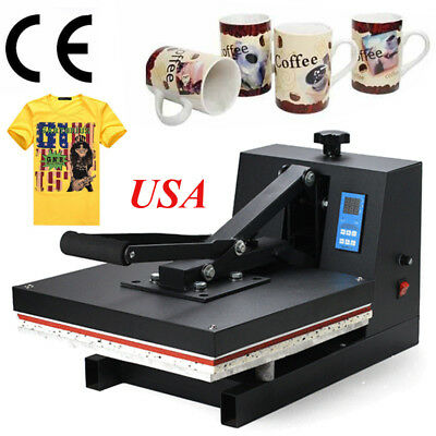 "【CA+US】15""x15"" Heat Press Transfer Digital Clamshell T-Shirt Sublimation Machine"
