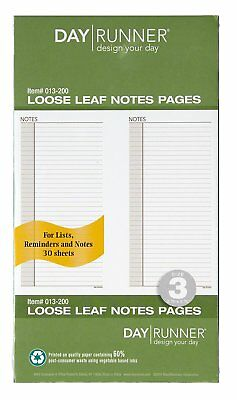 Day Runner Undated Planner Notes Refill, 3.75 x 6.75 Inches 013-200