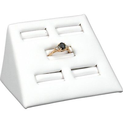 """White Leather 5 Slot Ring Stand Jewelry Display 2"""""""