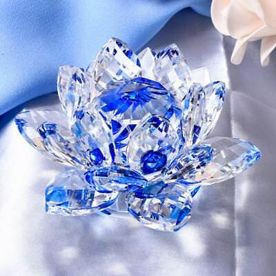 Crystal Lotus Flower Ornament Crystocraft Home Wedding Table Decor Blue