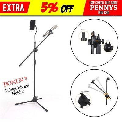 Telescopic Microphone Mic Stand Clamp 2 Clips Mount Holder Cradle Adjustable
