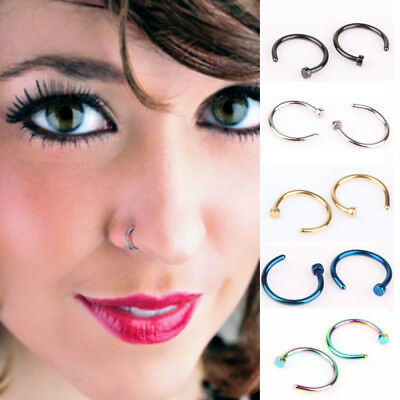 1 Pair Set Fake Septum Clip On Non Piercing Swirls Septum Faux Clicker Nose Ring