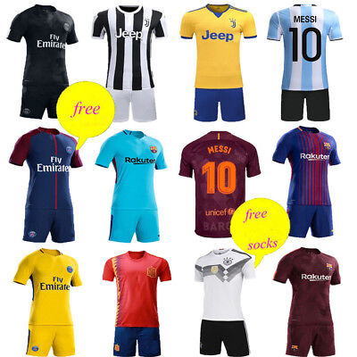 Football Kit Soccer Club Kids Boy Youth Short Sleeve Jerseys Team Suit +Socks