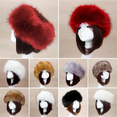 Women Russian Fluffy Faux Fur Hat Headband Winter Earwarmer Ski Hat Stylish
