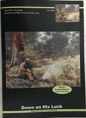 """Country Threads """"Down on His Luck """" Cross Stitch Chart Pattern Fiona Jude"""