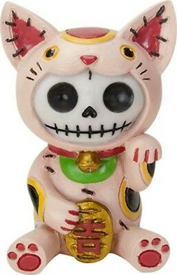 FurryBones Maneki Neko Figurine Ornament Lucky Cat Cute Skull Cool Gothic Gift