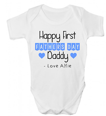 Personalised Happy First Fathers Day Daddy Boys Funny Baby Grow Body Suit Vest