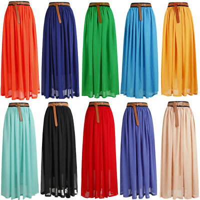 Women Loose BOHO Gypsy Chiffon Long Full Skirt Maxi Beach Dress Colorful *Lng