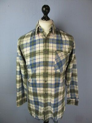 VINTAGE RETRO blue/grey check FLANNEL BUTTON UP SHIRT MEDIUM st68