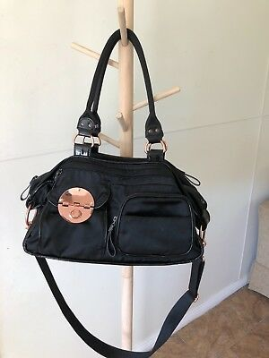 Mimco Lucid Baby Nappy Bag Black Nylon LARGE Duffle Weekender AUTHENTIC new