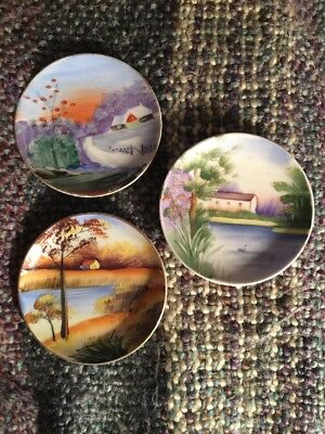 Hand Painted Made In Japan Mini Decorative Hanging Plates Vintage
