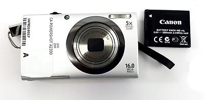 Canon PowerShot A2300 Digital Camera HD 16 Megapixel Silver with Battery Charger