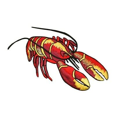 RED LOBSTER MAINE SEAFOOD OCEAN Iron On Embroidered Patch SEAFISH