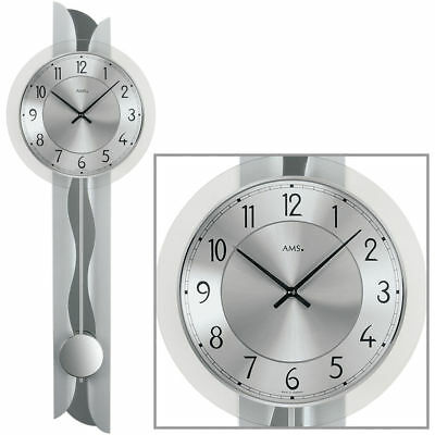 ams 9438 wanduhr uhr modern design glas silber metall wohnzimmeruhr esszimmeruhr eur 99 00. Black Bedroom Furniture Sets. Home Design Ideas