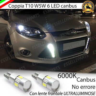 Coppia Luci Di Posizione 6 Led T10 Canbus 6000K Ford Focus 3 Iii Bianco