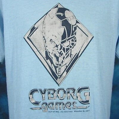 vintage 80s CYBORG GAMES NEXT EMPIRE PLAY BY MAIL T-Shirt M/L board rpg sci fi