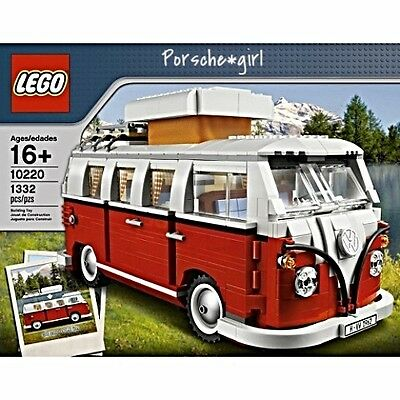 Lego Red And White Volkswagen Bus WV 10220 Vintage Style Camper Van
