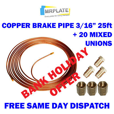 Copper brake pipe 3//16 25ft 7.5mtr 22G with 10 unions