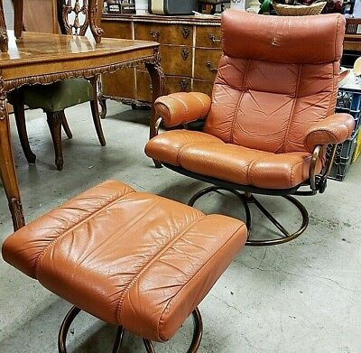 Vtg Orange Vintage Ekornes Stressless Mcm Leather Recliner Chrome W