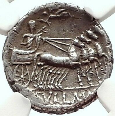 DICTATOR SULLA in CHARIOT Authentic Ancient 82BC Silver Coin of Rome NGC i68284
