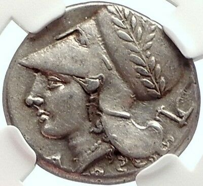 CORINTH Ancient 375BC Silver Greek Stater Coin ATHENA & PEGASUS NGC Ch XF i68288