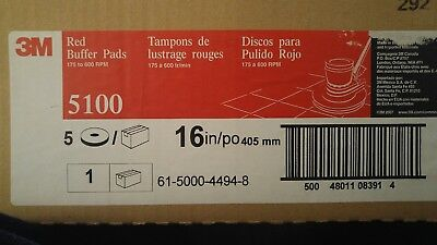"""3M Low-Speed Buffer Floor Pads 5100, 16"""" Dia., Red, 5/ct"""