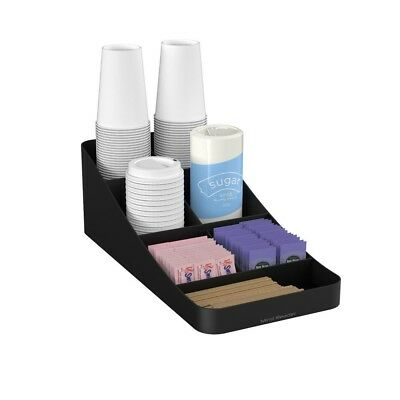 Coffee Condiment Organizer 7 Compartment Black Tea Cup Rack Holder Sugar Cup
