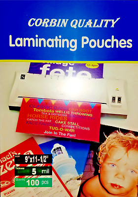 100 Letter 5 Mil Laminating Pouches Laminator Sheets 9 x 11-1/2 Quality