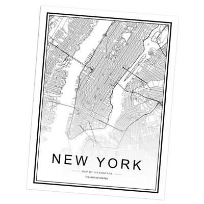 21x30cm Nordic World City Map NewYork Poster Art Canvas Painting Decoration