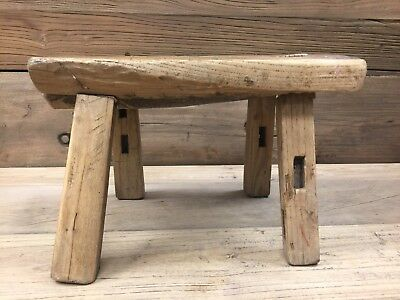Antique Chinese Elm Wood Bench Milking Stool Circa 1900s
