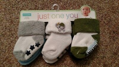 Carters Just One You Socks Baby Boy 6-pack Size 0-3 Months