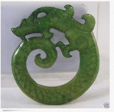 CHINESE OLD HANDWORK GREEN JADE CARVED DRAGON PENDANT Free shipping