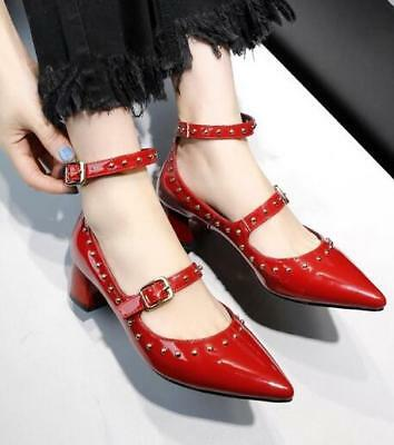 Womens Patent Leather Rivet Pointed Toe Ankle Strap Mary Jane Med Block Heels D2