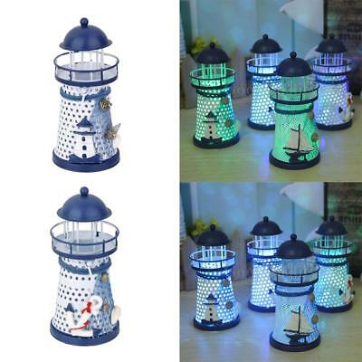 2x Hand Painted Lighthouse Iron Candle Holder Mediterranean Style Home Decor