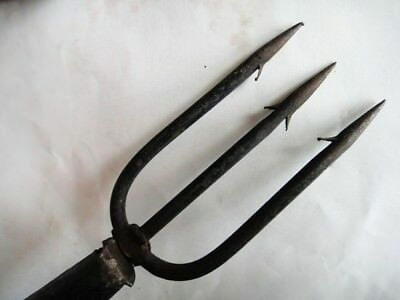 """antique 54""""FARM TOOL, WROUGHT IRON 3 PRONG EEL SPEAR WOOD HANDLE,HAY FISH HUNT"""
