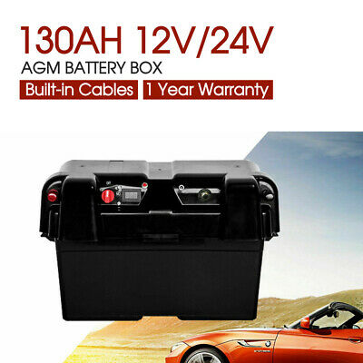 Battery Box AGM Deep Cycle 12V 130AH Dual System Dual USB Ports Large Marine AU