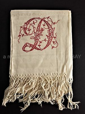 1800 antique DAMASK REDWORK HAND TOWEL berwyn pa DOWNING FAMILY monogram d