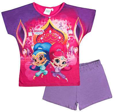 Girls Shimmer & Shine Short Pyjamas Kids Character Shortie PJs 2 Piece Set Size