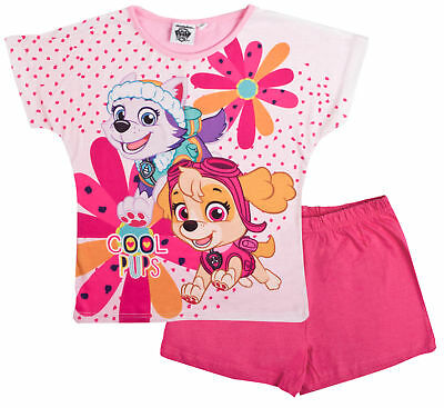 Paw Patrol Pyjamas Girls Skye Everest Pjs Shortie Character T Shirt + Shorts