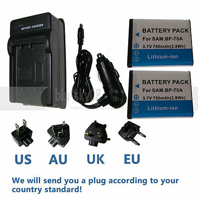 2X BP70A Battery + Charger for Samsung DV150F ES65 ES70 ES80 MV800 PL120 PL170