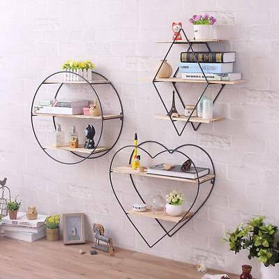 Iron Art Wooden Wall Bookcase Shelving Supporter Bracket Retro Wall Coat Hanger