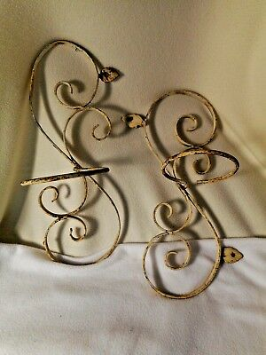 TWO Vintage Wrought Iron FANCY Wall Mount Flower Planters W/Pot-Chippy Paint