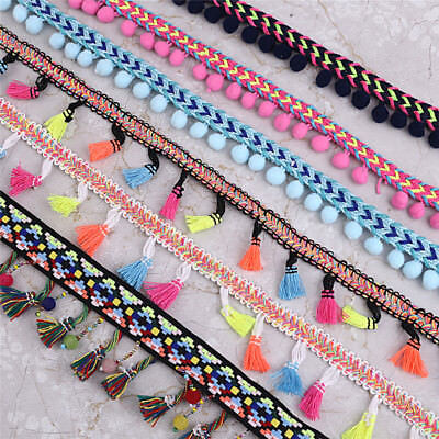 1/2 Yards Bohemian Beads Tassel Lace Trim Ribbon Pom Pom Sewing Accessory Craft