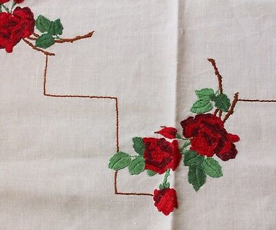 Exquisite Red Rose Bouquets | Vintage Raised Hand Embroidered Linen Tablecloth